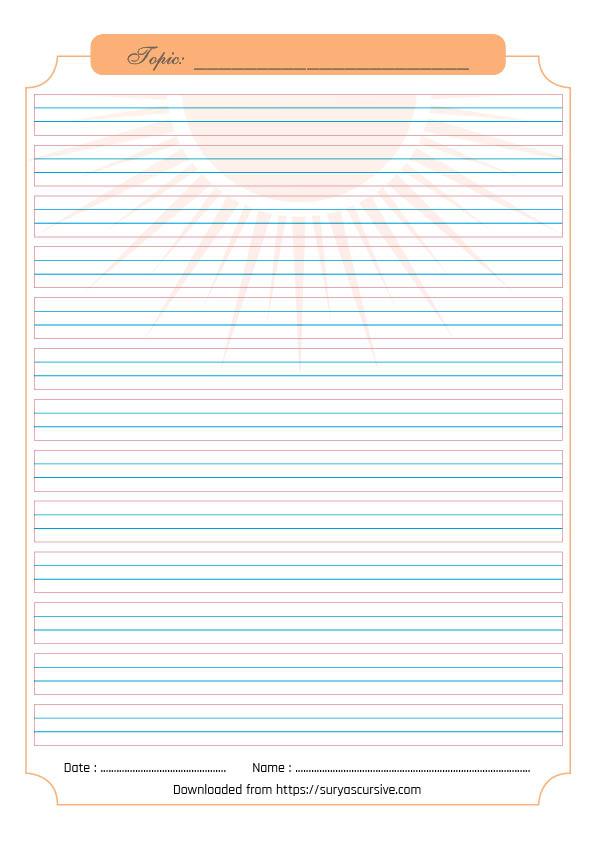 Blank Handwriting Worksheet (4-lined) For Cursive Writing Practice  SuryasCursive.com